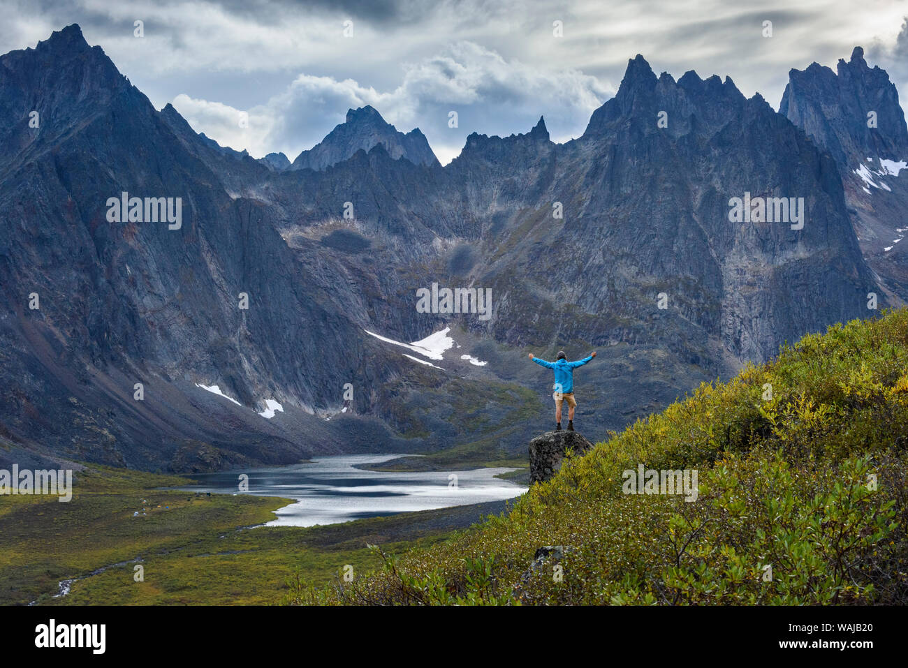 Canada, Yukon, Tombstone Territorial Park, Grizzly Lake Trail, Hiker enjoying the outdoors. (MR) Stock Photo