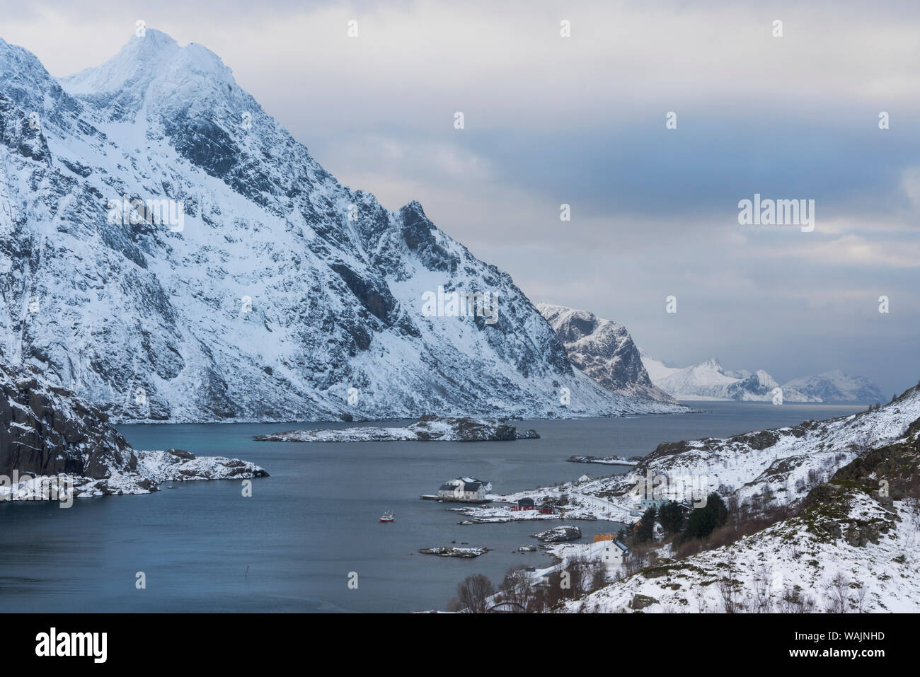 Norway, Lofoten Islands, Vestvag Island, Unstad. View of the rocky coastline on the way to Unstad. Stock Photo