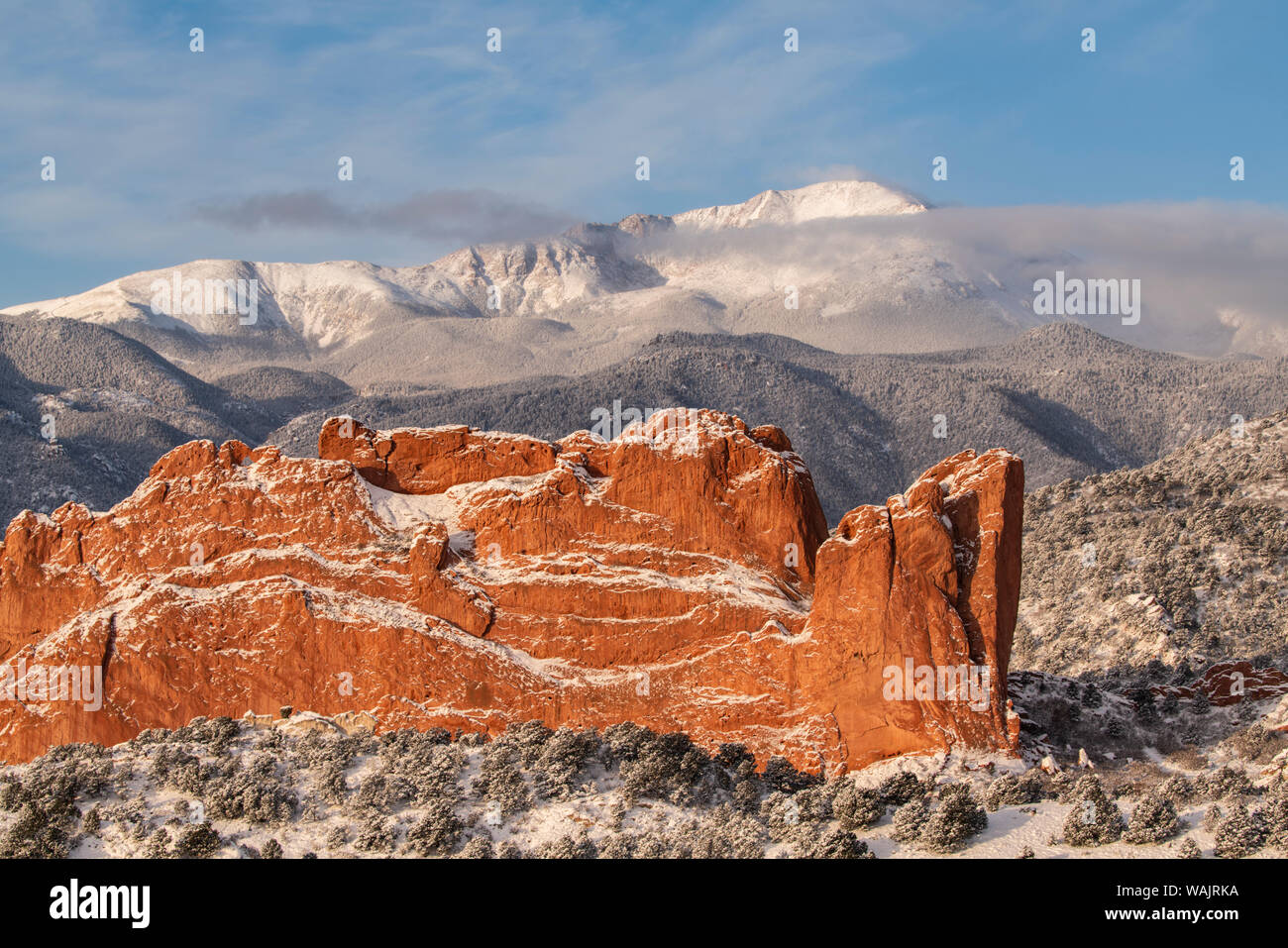 USA, Colorado, Garden of the Gods. Fresh snow on Pikes Peak