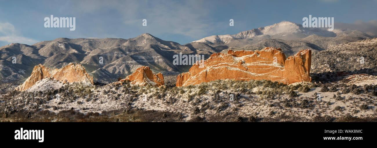 USA, Colorado, Garden of the Gods. Panoramic of fresh snow