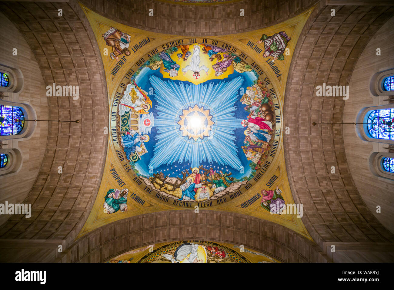 USA, Washington D.C. Basilica of the National Shrine of the Immaculate Conception ceiling Stock Photo