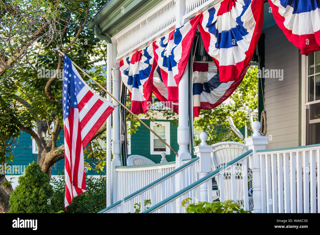 USA, Massachusetts, Cape Ann, Manchester by the Sea. Fourth of July, US flags Stock Photo