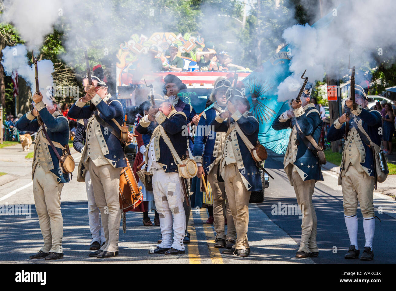 USA, Massachusetts, Cape Ann, Manchester by the Sea. Fourth of July, Patriot re-enactors Stock Photo