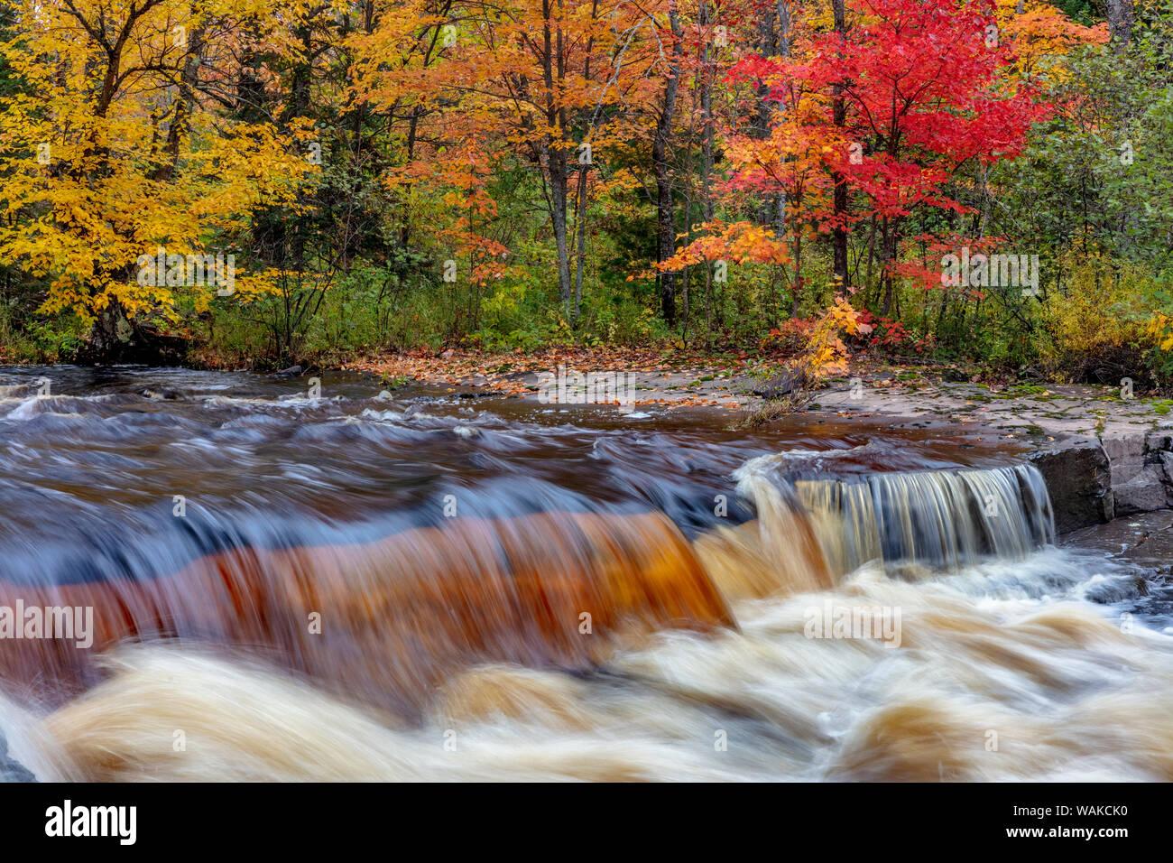 Sturgeon River in autumn near Alberta in the Upper Peninsula of Michigan, USA Stock Photo