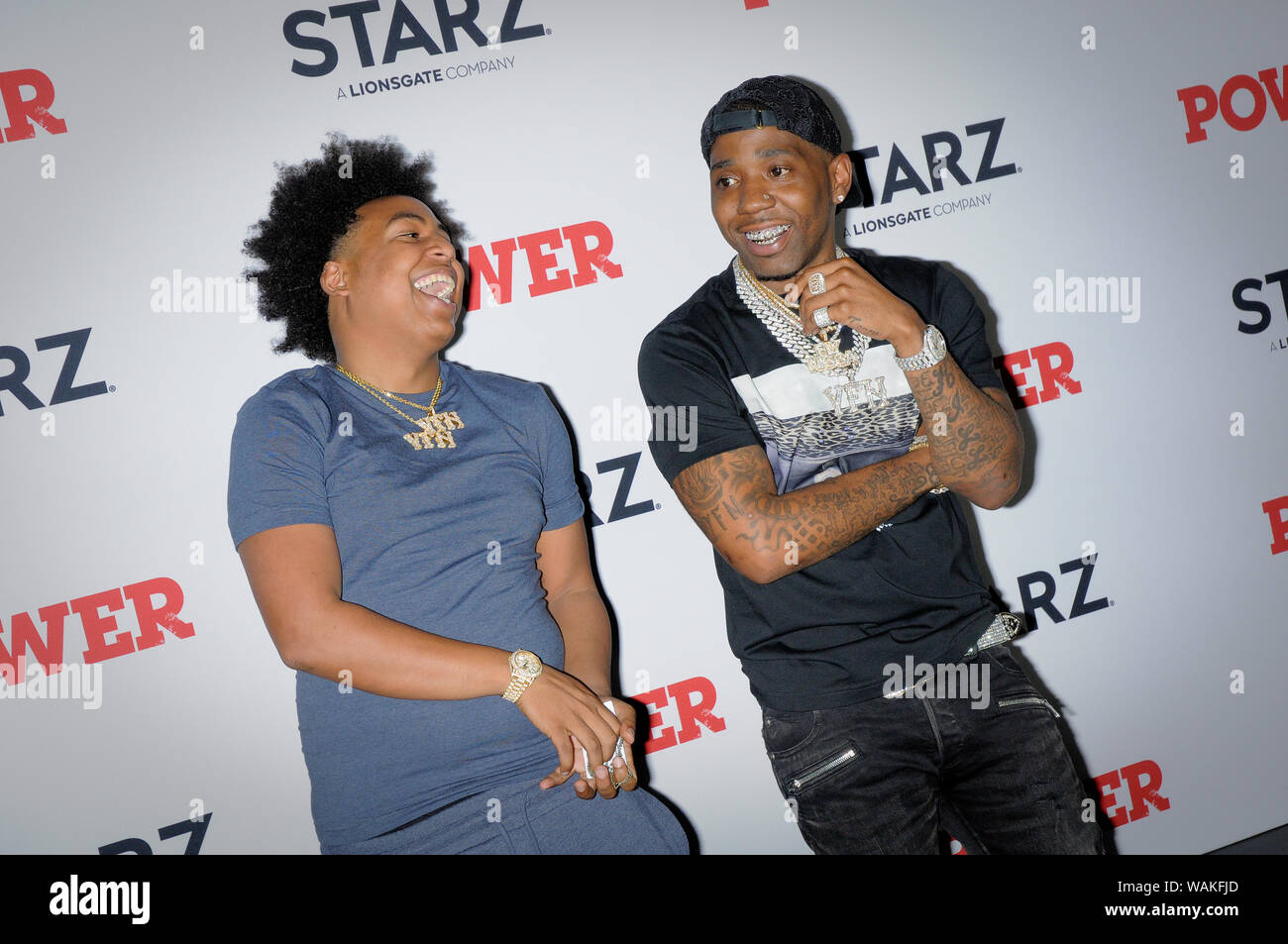 Yfn Lucci and a guest attend the Power Final Season Premiere