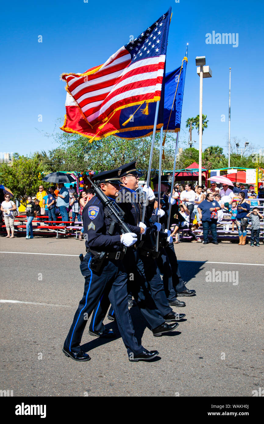 Police Honor Guard with flags  (Editorial Use Only Stock