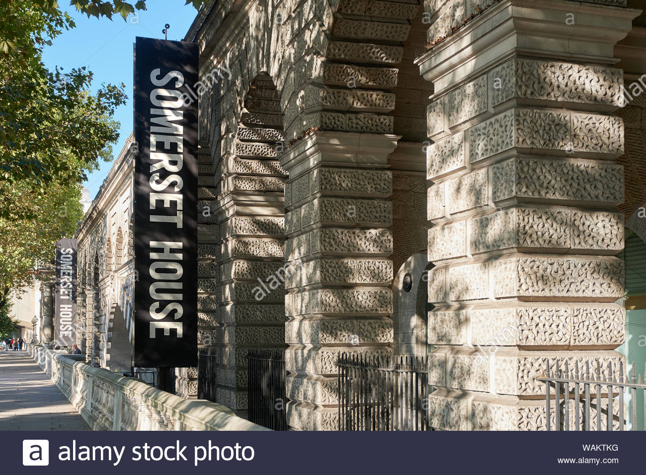 London, UK. 30th September, 2018. Somerset House, an arts and entertainment venue, is lit by dappled autumn sunlight. Stock Photo