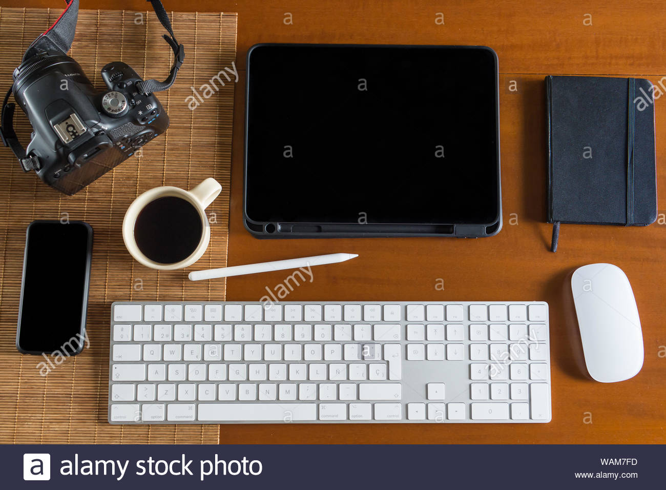 Brown Wood Office Desk Table And Equipment For Working And Editing Images With Black Coffee In Top View And Flat Ray Concept Stock Photo Alamy