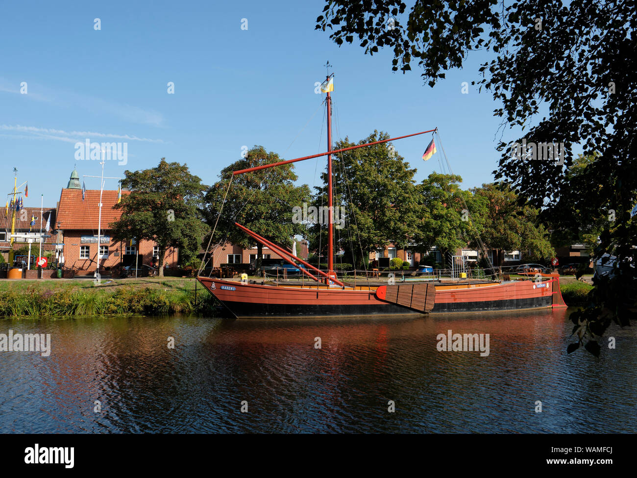 Schiffahrtsmuseum Haren - The small Maritime Museum in Haren Germany with moored historic barges on the Haren Rutenbrock canal in Lower Saxony. Stock Photo