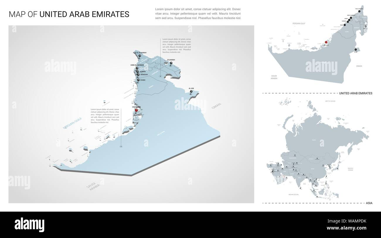 Map Of Asia United Arab Emirates.Vector Set Of United Arab Emirates Country Isometric 3d Map Uae