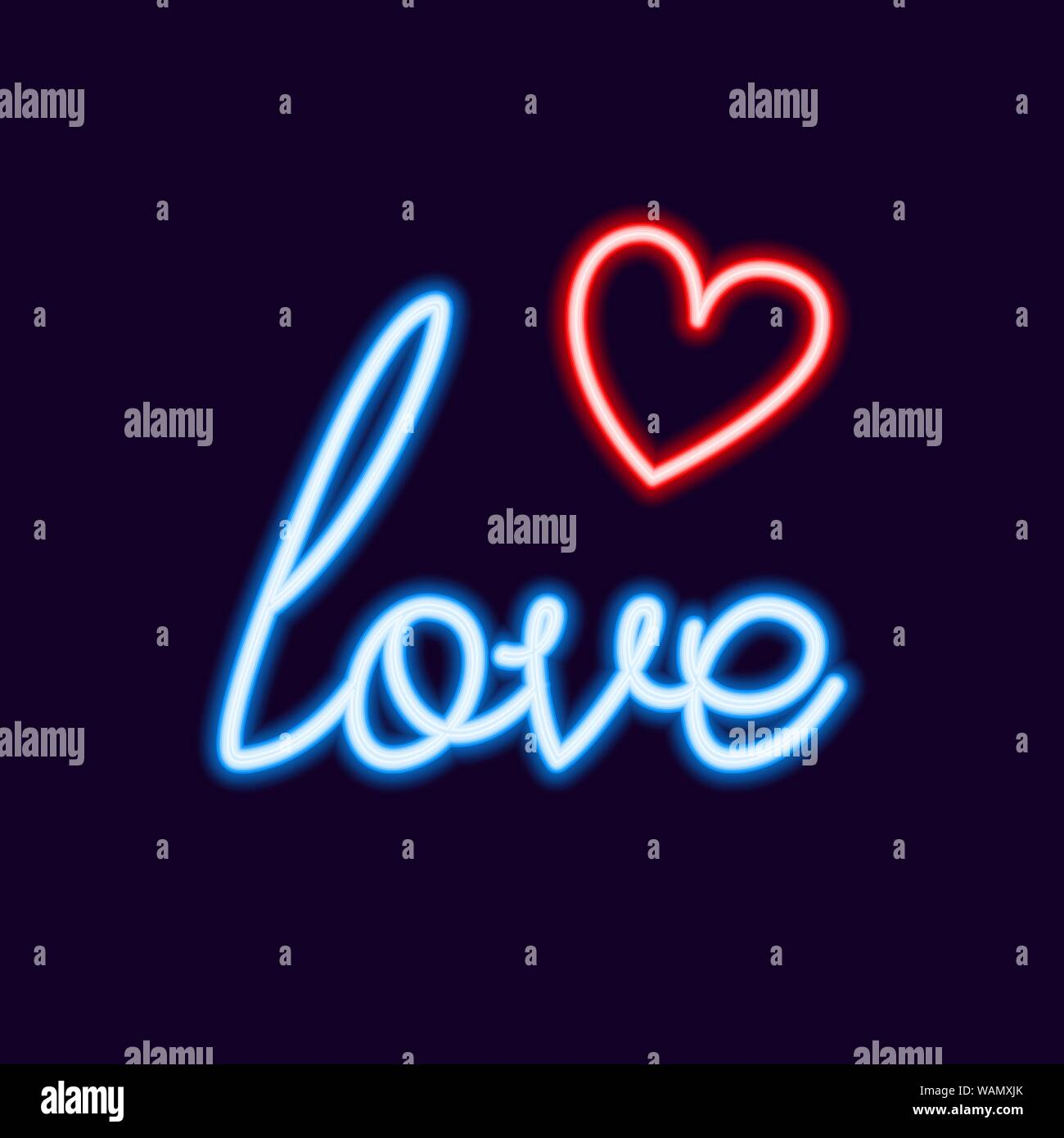 Love Neon font with icon, 80s text letter glow light Retro