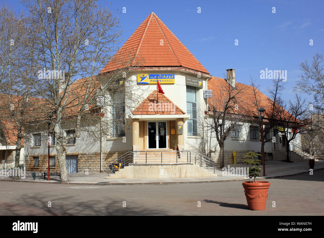 Poste Maroc Building, Ifrane, Morocco Stock Photo