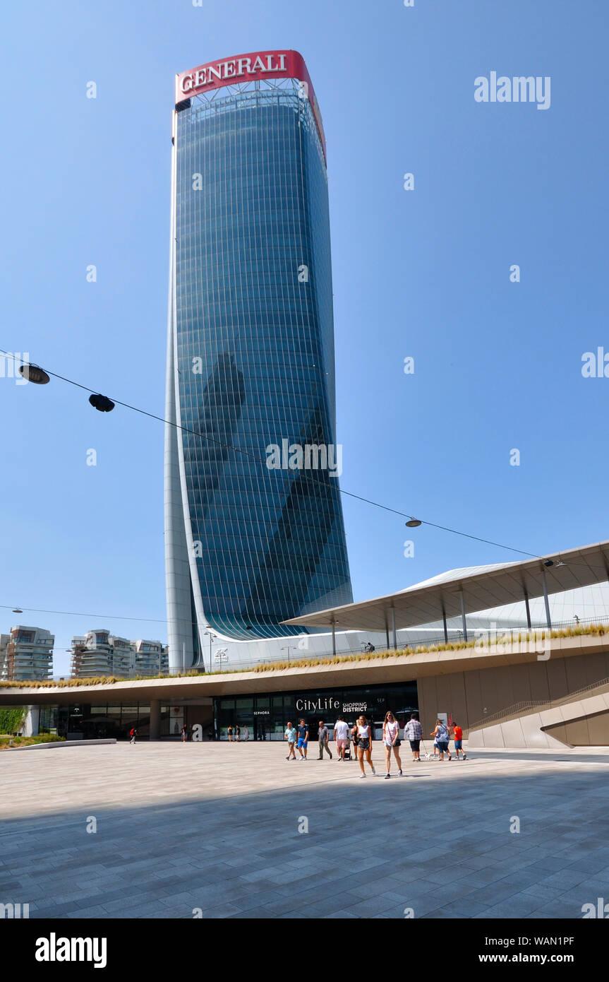Italy, Lombardy, Milan, CityLife, Hadid Tower designed by Zaha Hadid Architect Stock Photo