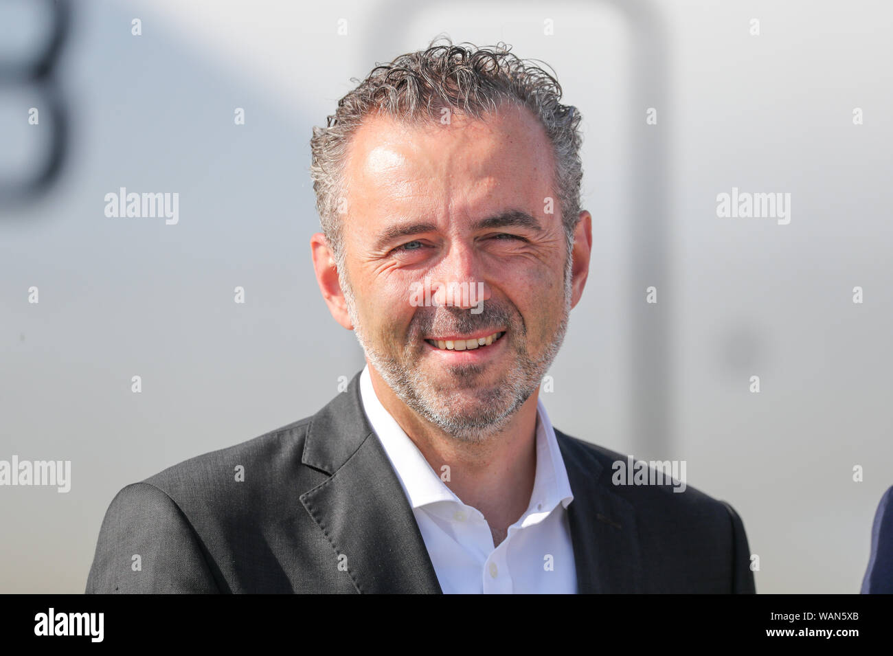 Schkeuditz, Germany. 21st Aug, 2019. Thomas Jarzombek, Federal Government Commissioner for Aerospace, is at Leipzig-Halle Airport. Credit: Jan Woitas/dpa-Zentralbild/dpa/Alamy Live News Stock Photo