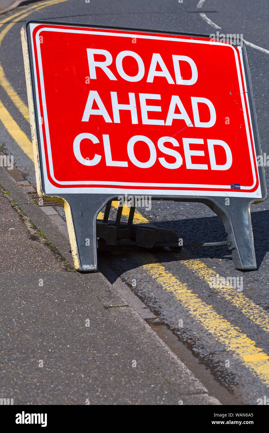 Road ahead closed sign at Westbourne, Bournemouth, Dorset UK in August Stock Photo