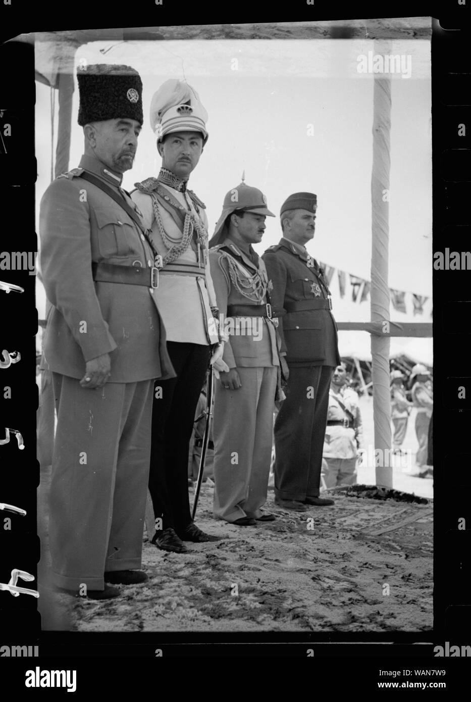 Coronation of King Abdullah in Amman on May 25, '46. King Abdullah, Emir Abdul Illah (Regent of Iraq), Emir Naif, King Abdullah's youngest son and Nuri Pasha Said, Iraqi Ambassador at Large Stock Photo
