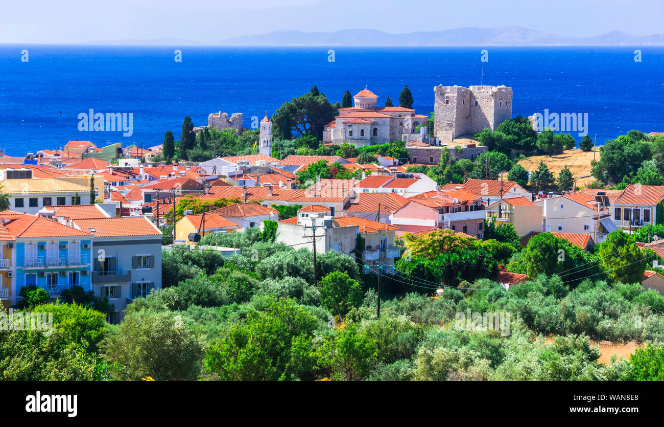 Landmarks of Samos island , Pythagorion town view with castle Stock Photo