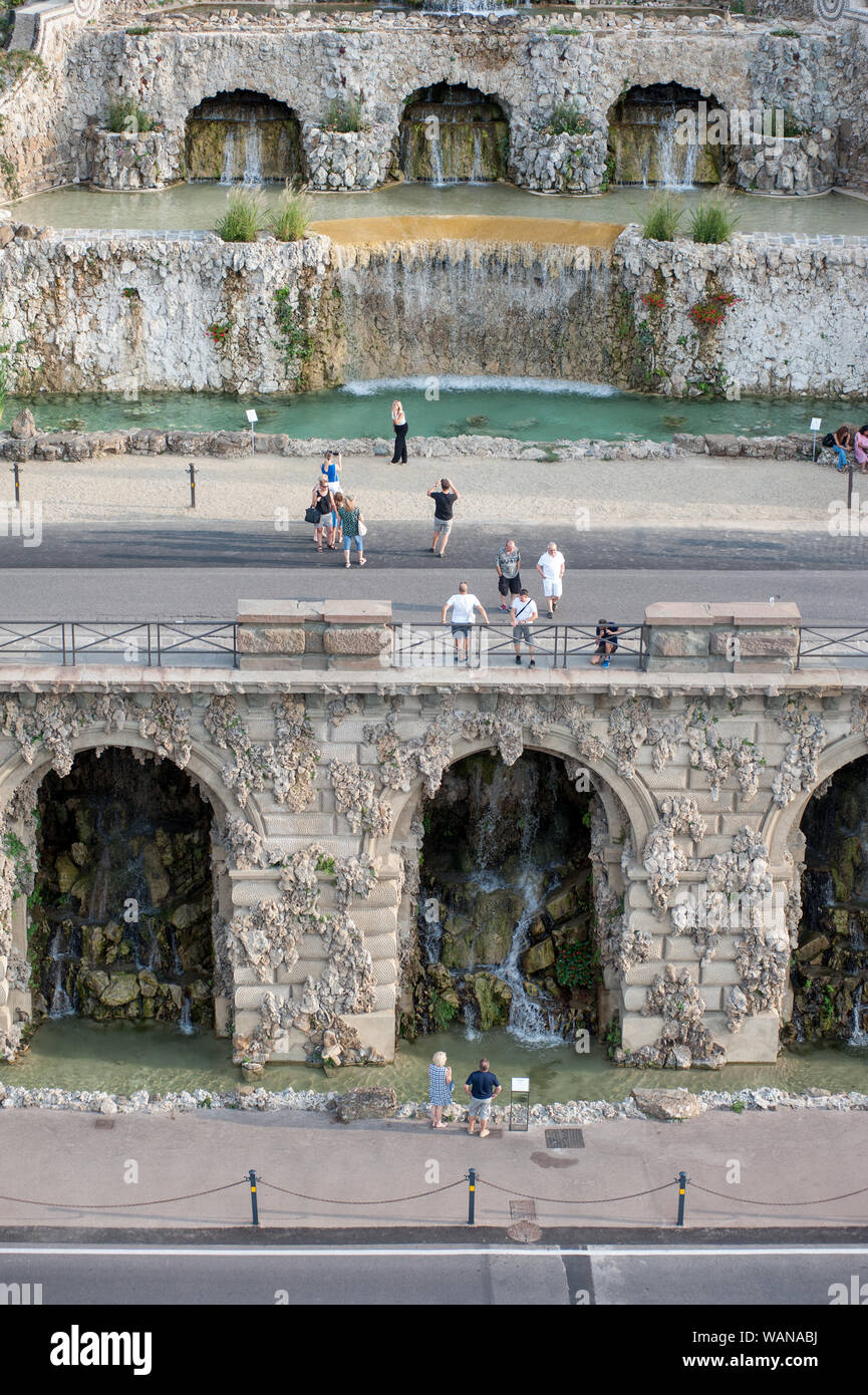 Florence, Italy - 2019, August 16: The Poggi's Ramps (Rampe del Poggi) with beautiful fountain system, is an iconic Florentine landmark. Stock Photo