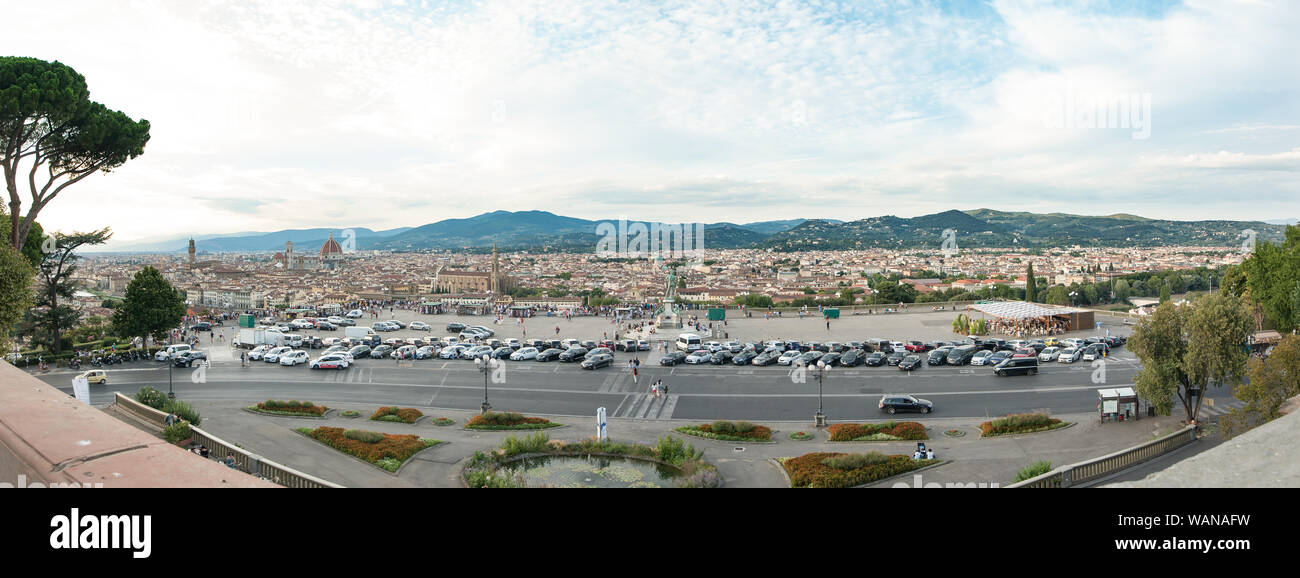 Florence, Italy - 2019, August 16: Piazzale Michelangelo with city skyline, in a summer day, view from the loggia that dominates the whole terrace. Stock Photo