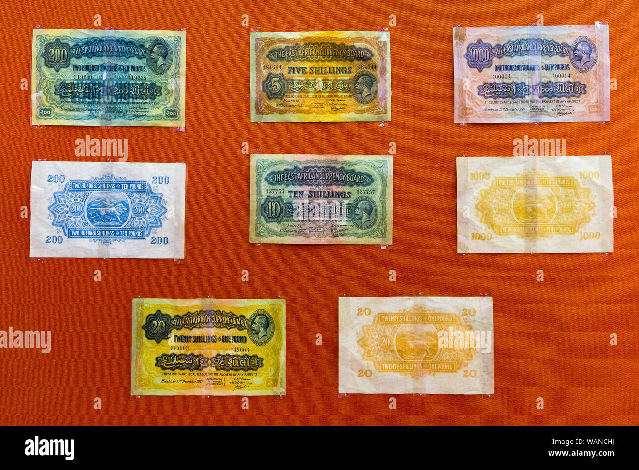 Various old bank notes of the East African Currency Board on display, Nairobi National Museum, Kenya Stock Photo