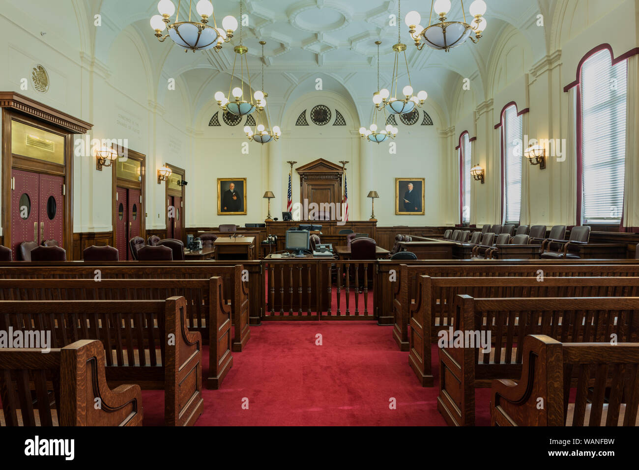 Courtroom at the Ed Edmondson Courthouse, also known as the U.S. Post Office and Courthouse, occupies an entire block between West Broadway, West Okmulgee Avenues and Fifth Street, Muskogee, Oklahoma Stock Photo