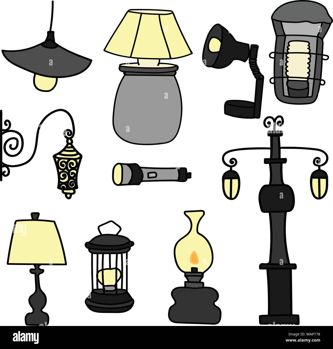 Set of hand-drawn vector lamps, street light, old lamp. Isolated. Stock Vector