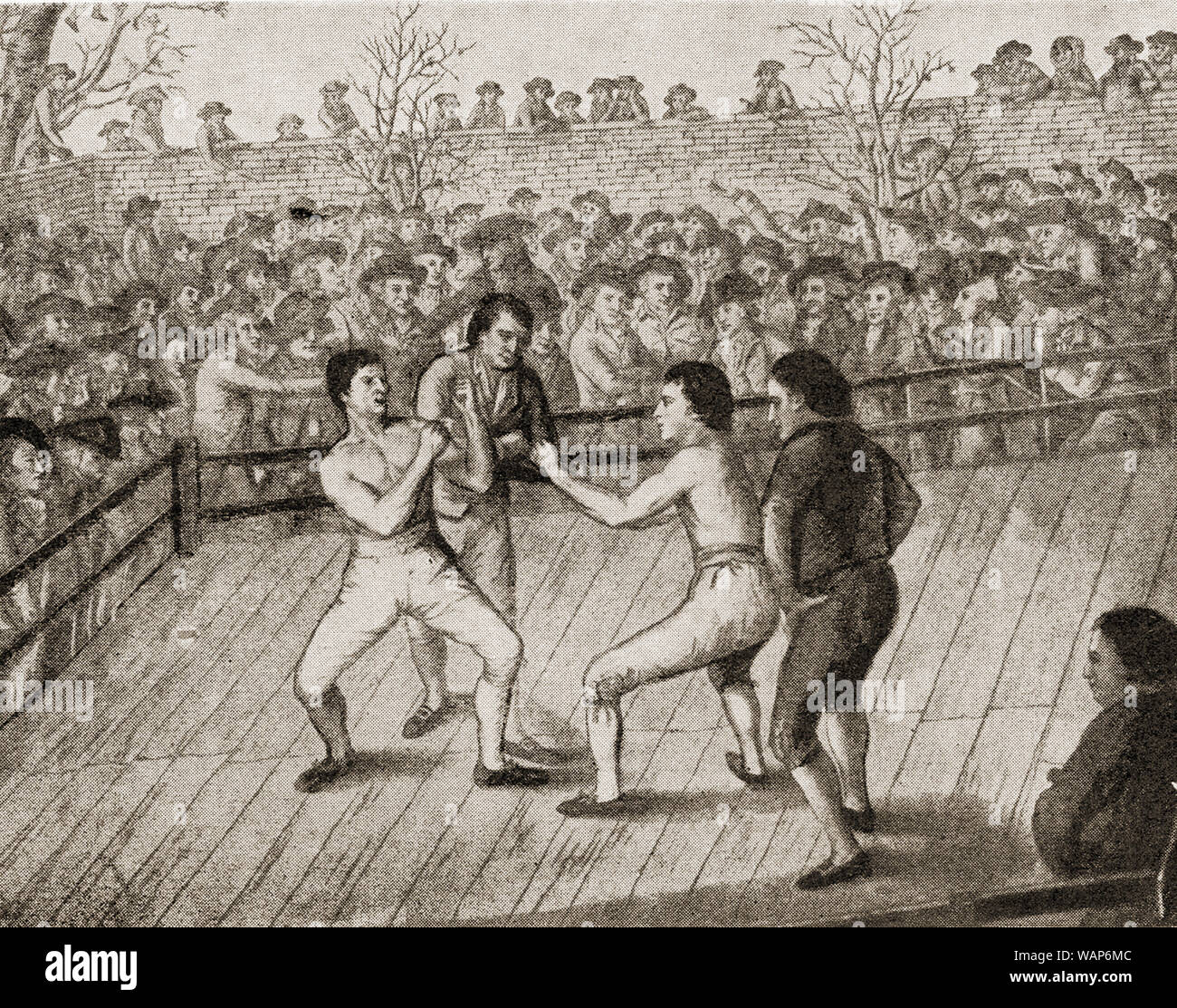 A bare knuckle boxing match in 1788 Stock Photo