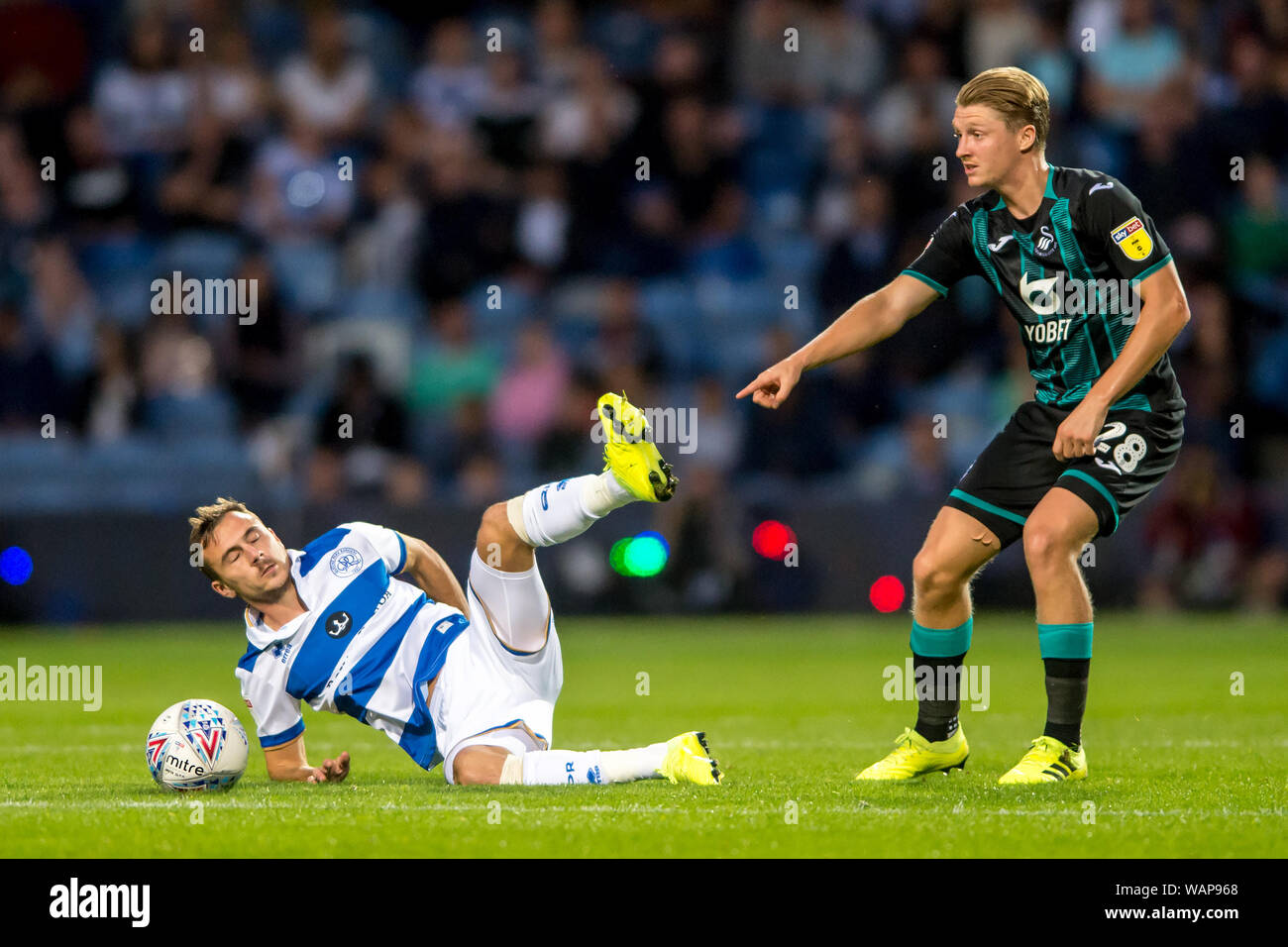 London, UK. 21st Aug, 2019. George Byers of Swansea City and Grant Hall of Queens Park Rangers during the EFL Sky Bet Championship match between Queens Park Rangers and Swansea City at The Kiyan Prince Foundation Stadium, London, England on 21 August 2019. Photo by Salvio Calabrese. Editorial use only, license required for commercial use. No use in betting, games or a single club/league/player publications. Credit: UK Sports Pics Ltd/Alamy Live News Stock Photo