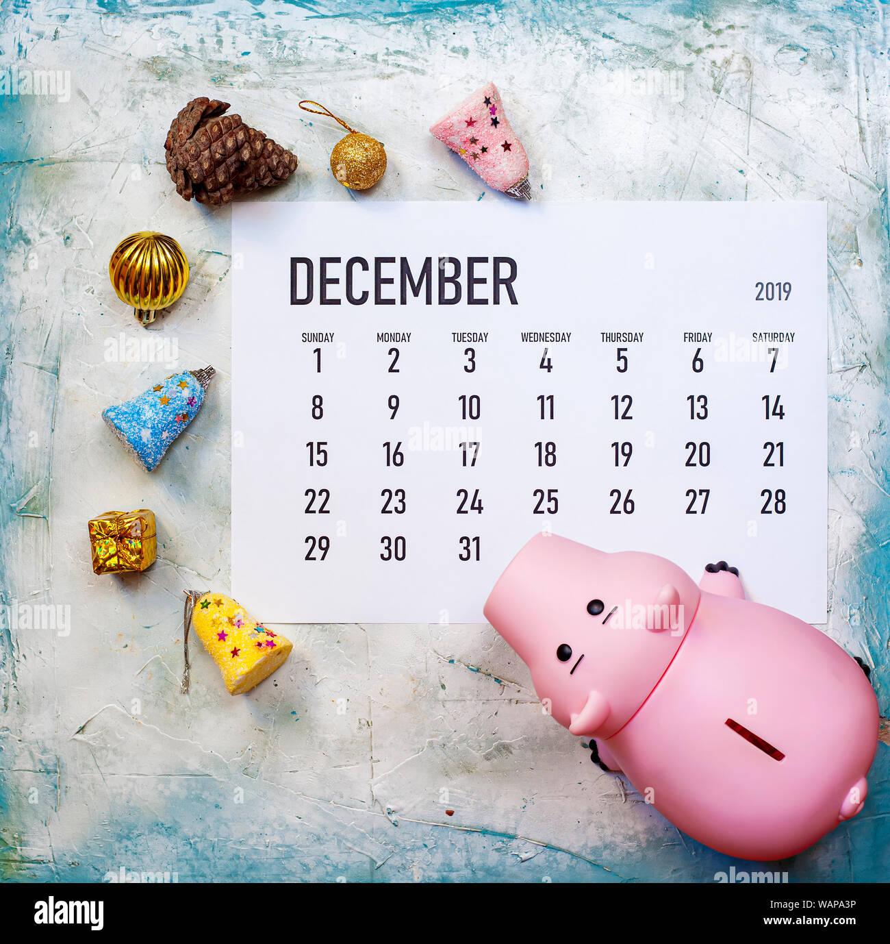 Christmas Holidays 2019 Calendar.December 2019 Calendar With Christmas Toys And Piggy Bank