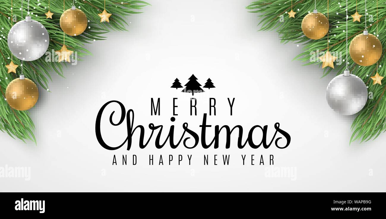 Brochure For Merry Christmas And Happy New Year Fir Tree