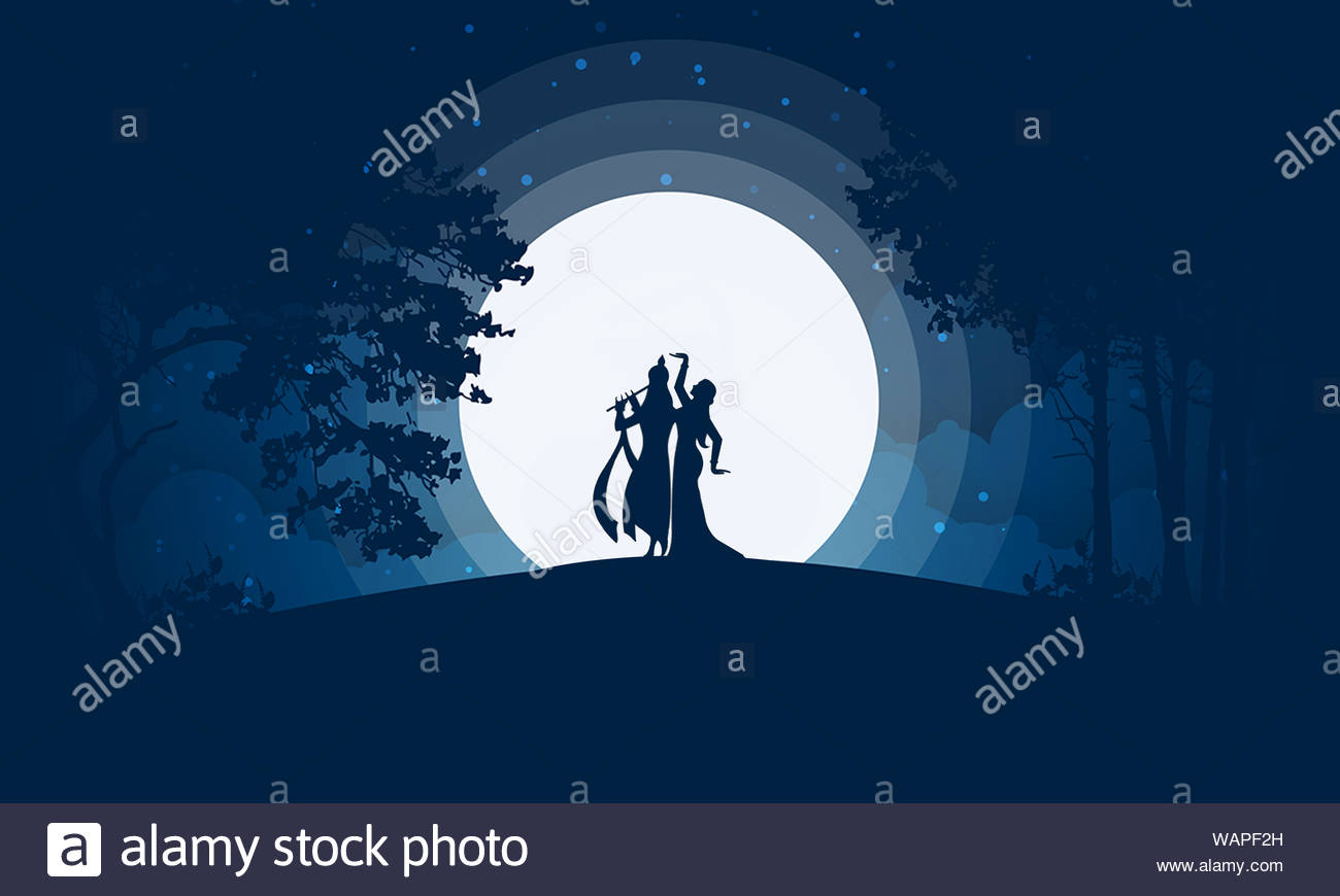 lord krishna playing flute with goddess radha ethereal creative background concept silhouette illustrationgraphicgradientnight landscapespiritual WAPF2H