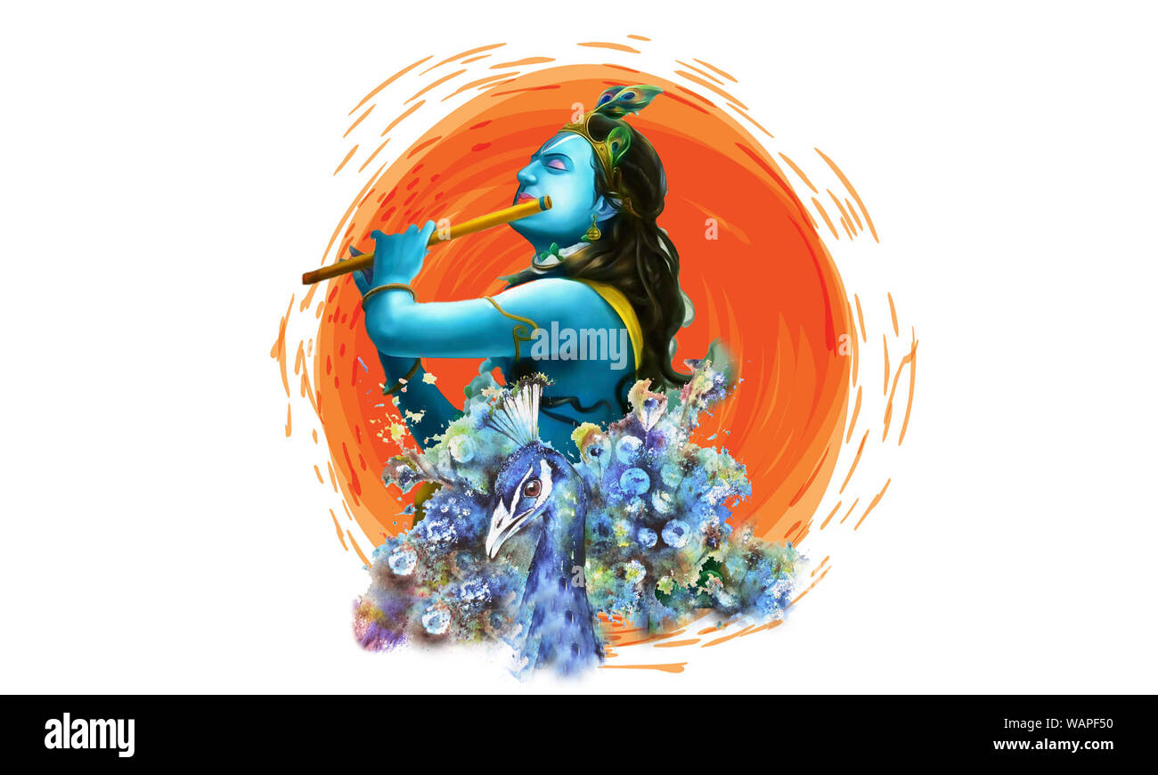shri krishna playing flute with peacock illustration background in brush paint strokekrishna janmashtami concept banner in aesthetic white backdrop WAPF50