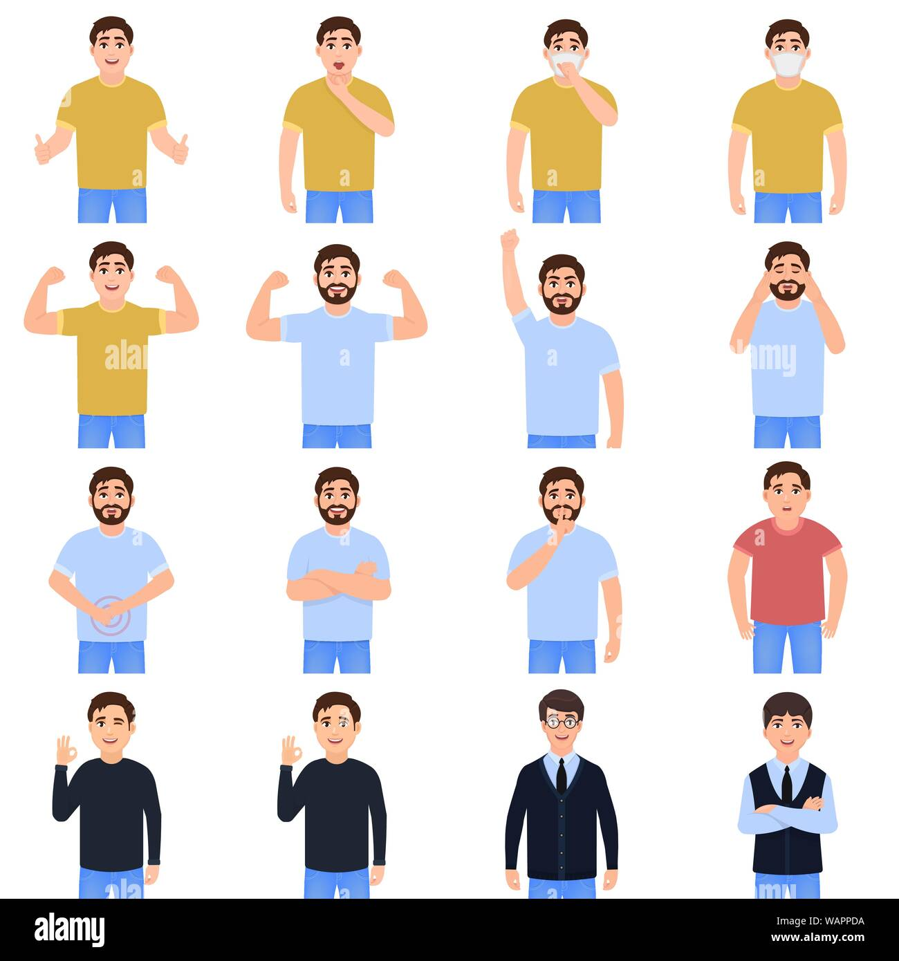 Men avatars icon set, guys with different moods, cartoon characters, people in everyday life vector illustration Stock Vector