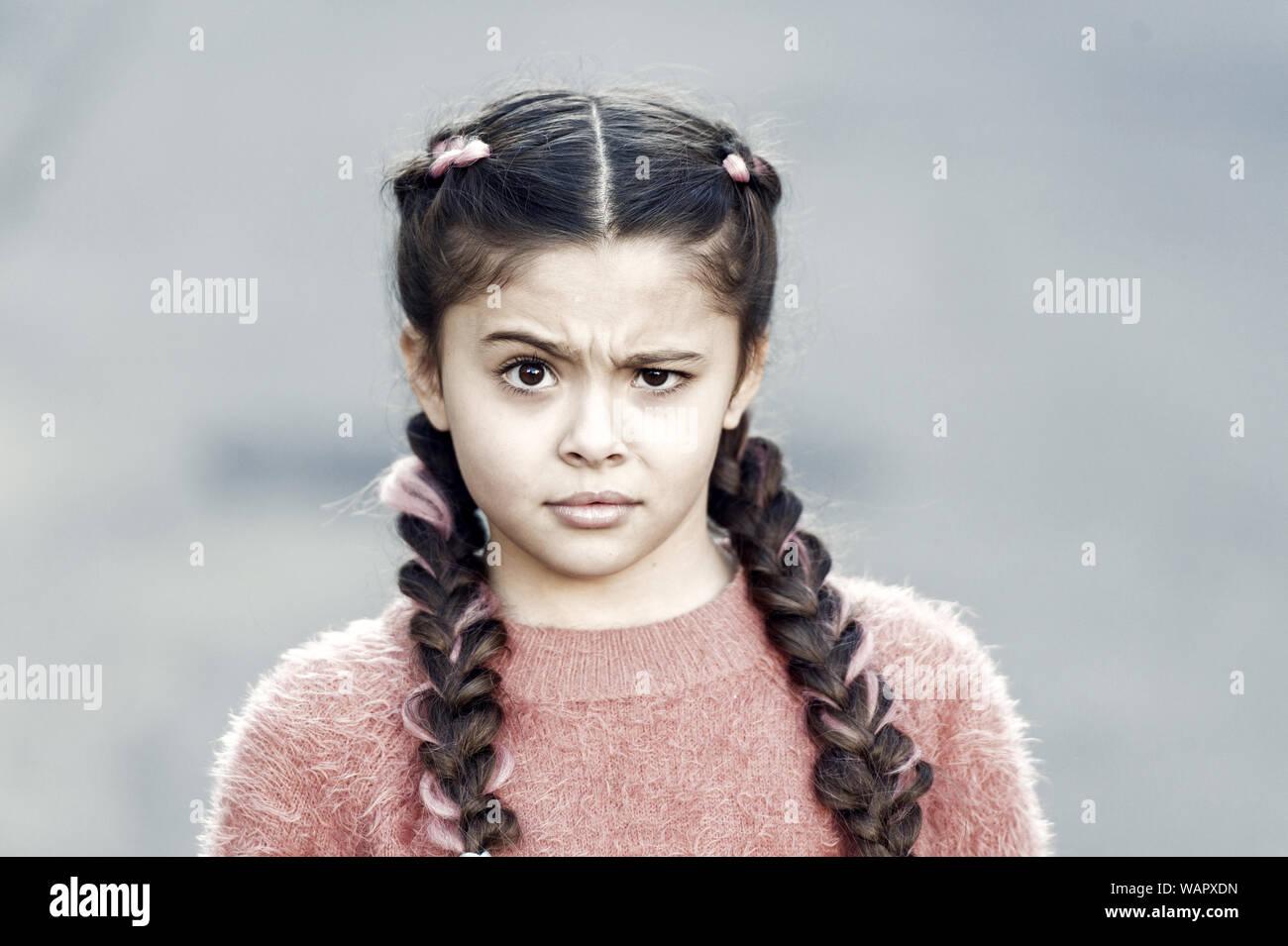 Suspicious Look Kanekalon Strand In Braids Of Child