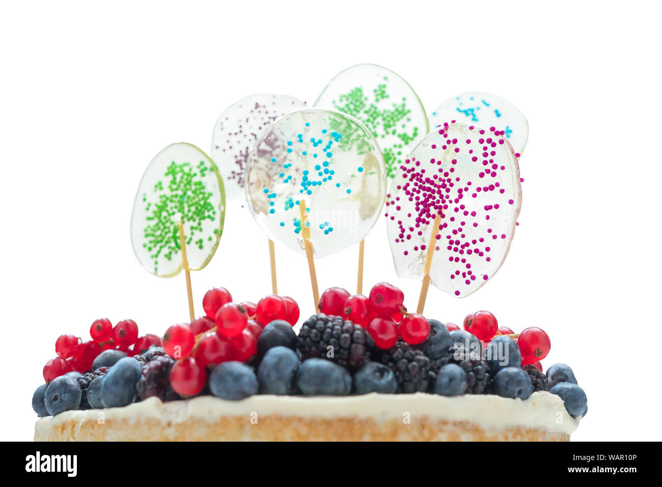 Cake with fresh berries isolated  Fragment of cake with