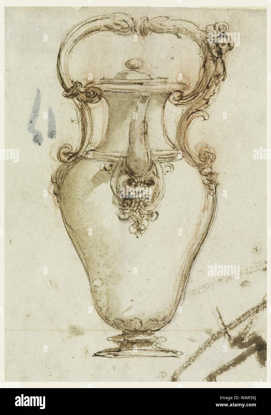 Drawing, Design for a Ewer with Spout and Loop Handle, 1600–1650 Stock Photo