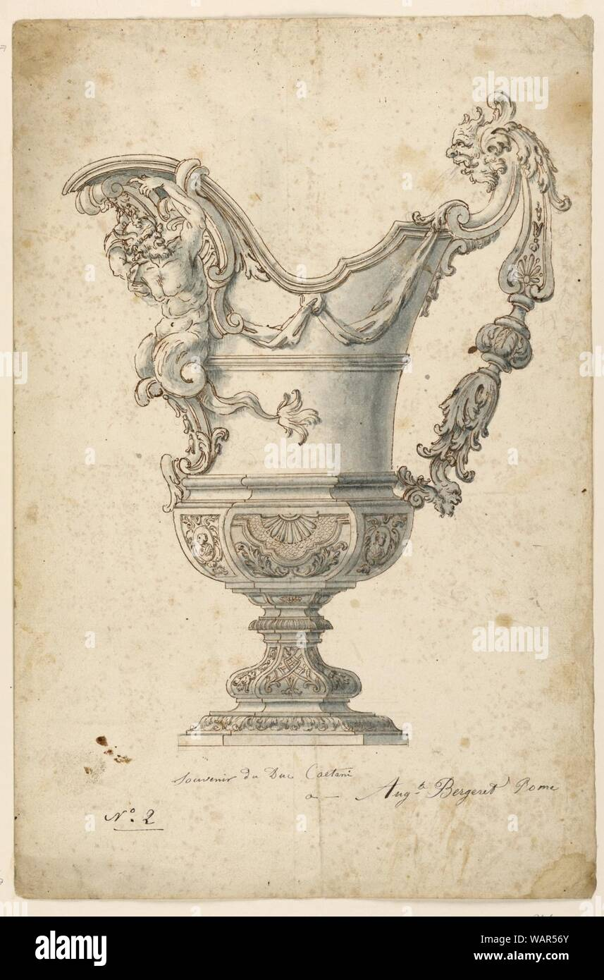 Drawing, Design for a Ewer, ca. 1715 Stock Photo