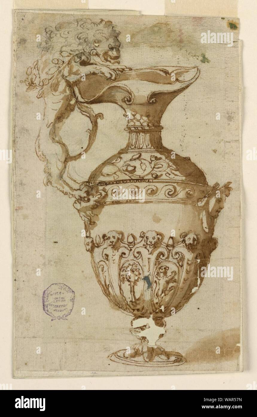 Drawing, Design for a Ewer with Handle in the Shape of a Lion, ca. 1550–1600 Stock Photo