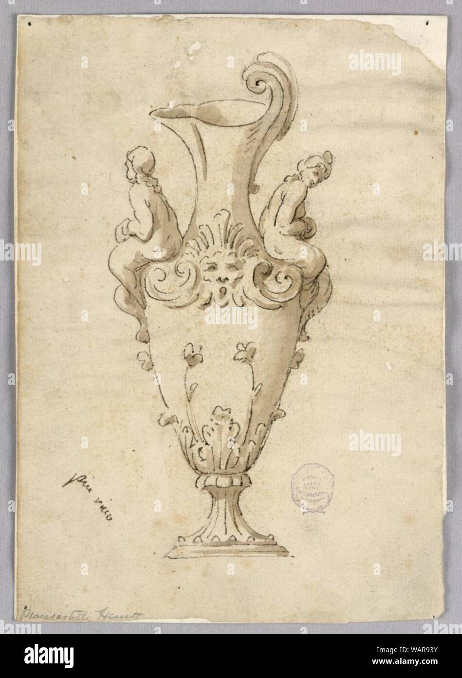 Drawing, Design for an Ewer, 19th century Stock Photo
