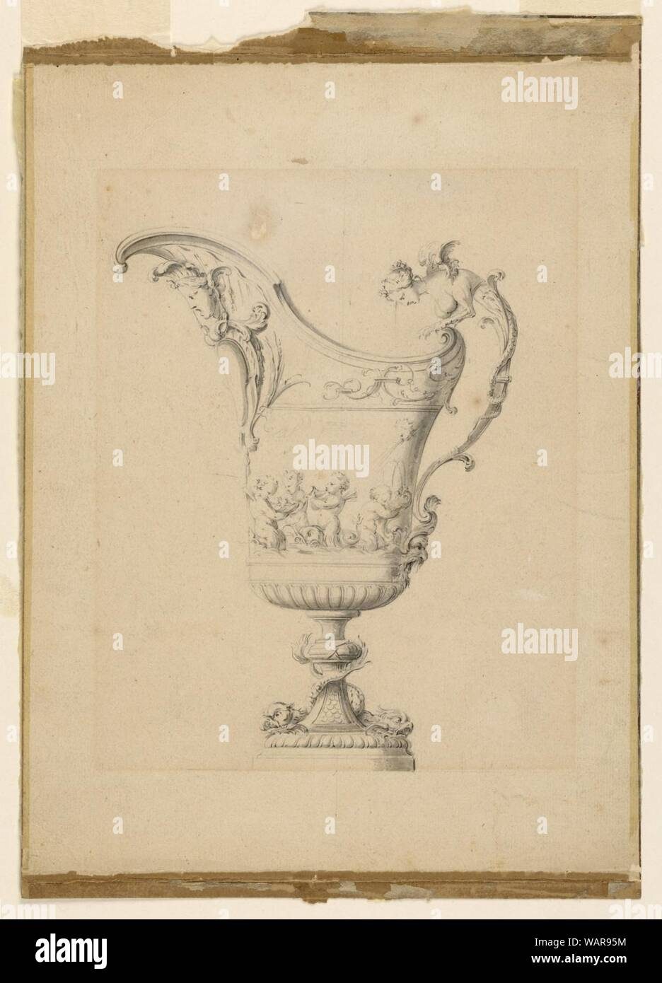 Drawing, Design for an Ewer, ca. 1710 Stock Photo