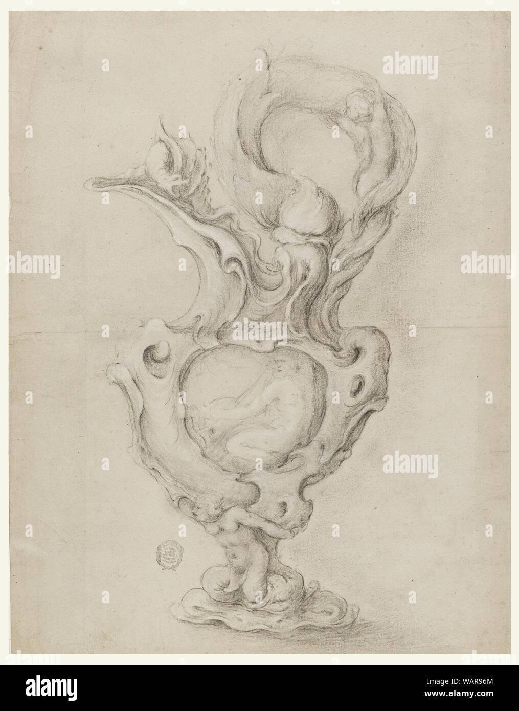 Drawing, Design for an Ewer, 1630–60 Stock Photo