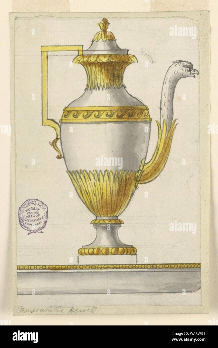 Drawing, Project for an Ewer and Basin, ca. 1800 Stock Photo