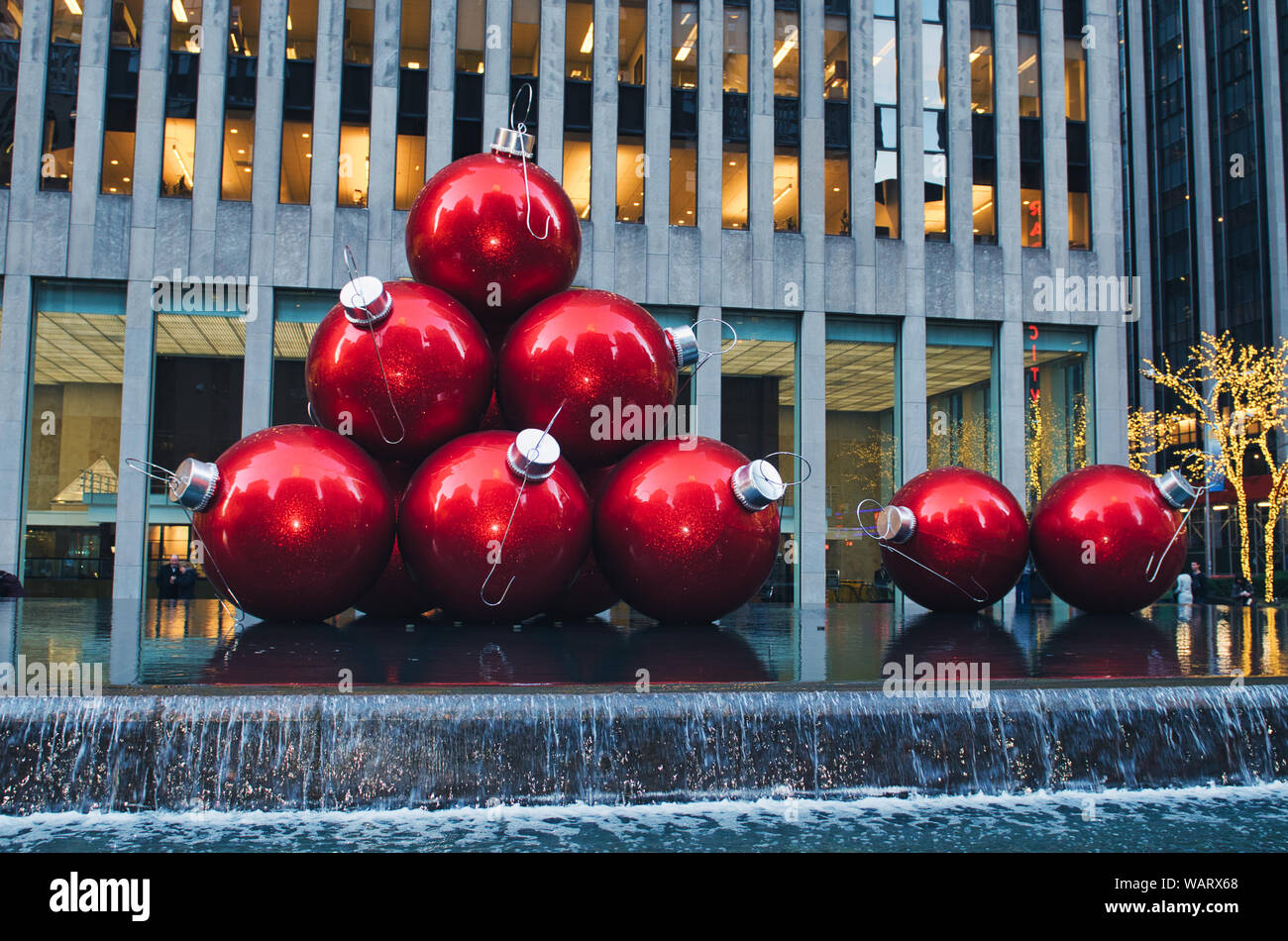 Large Christmas Ornaments.Large Christmas Ornaments On Display In New York City Stock