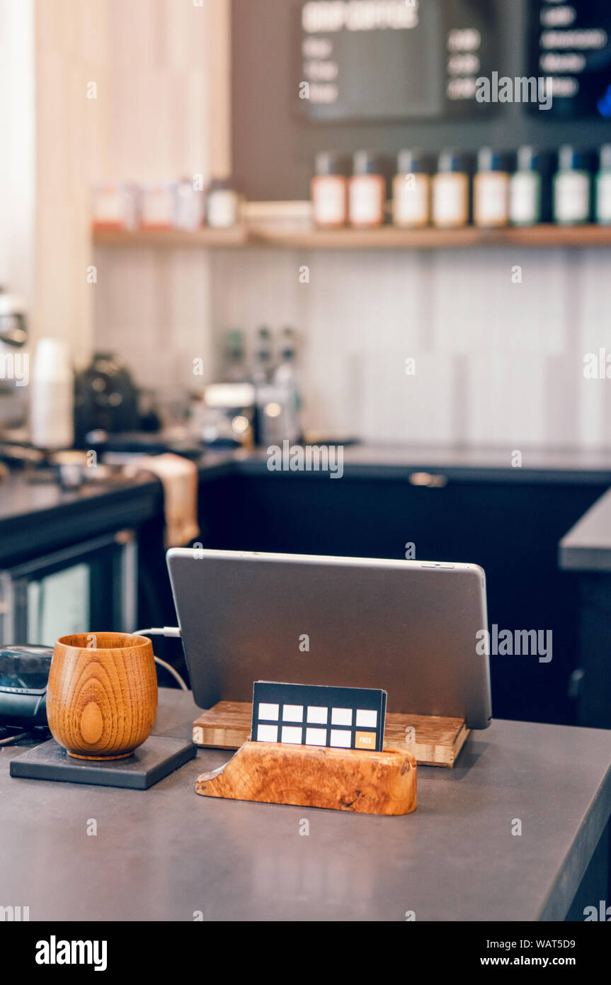 Interior Design Details Of Empty Modern Coffee Shop Restaurant At Daytime Small Local Business Environment Workplace Of Food Drink Server Stock Photo Alamy