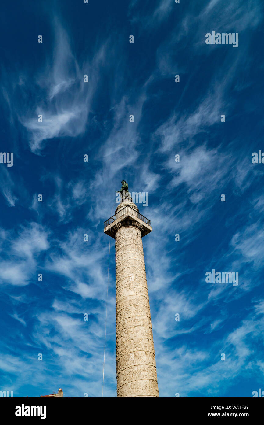 Trajan's Column (Colonna Traiana) in Rome, Italy. Stock Photo