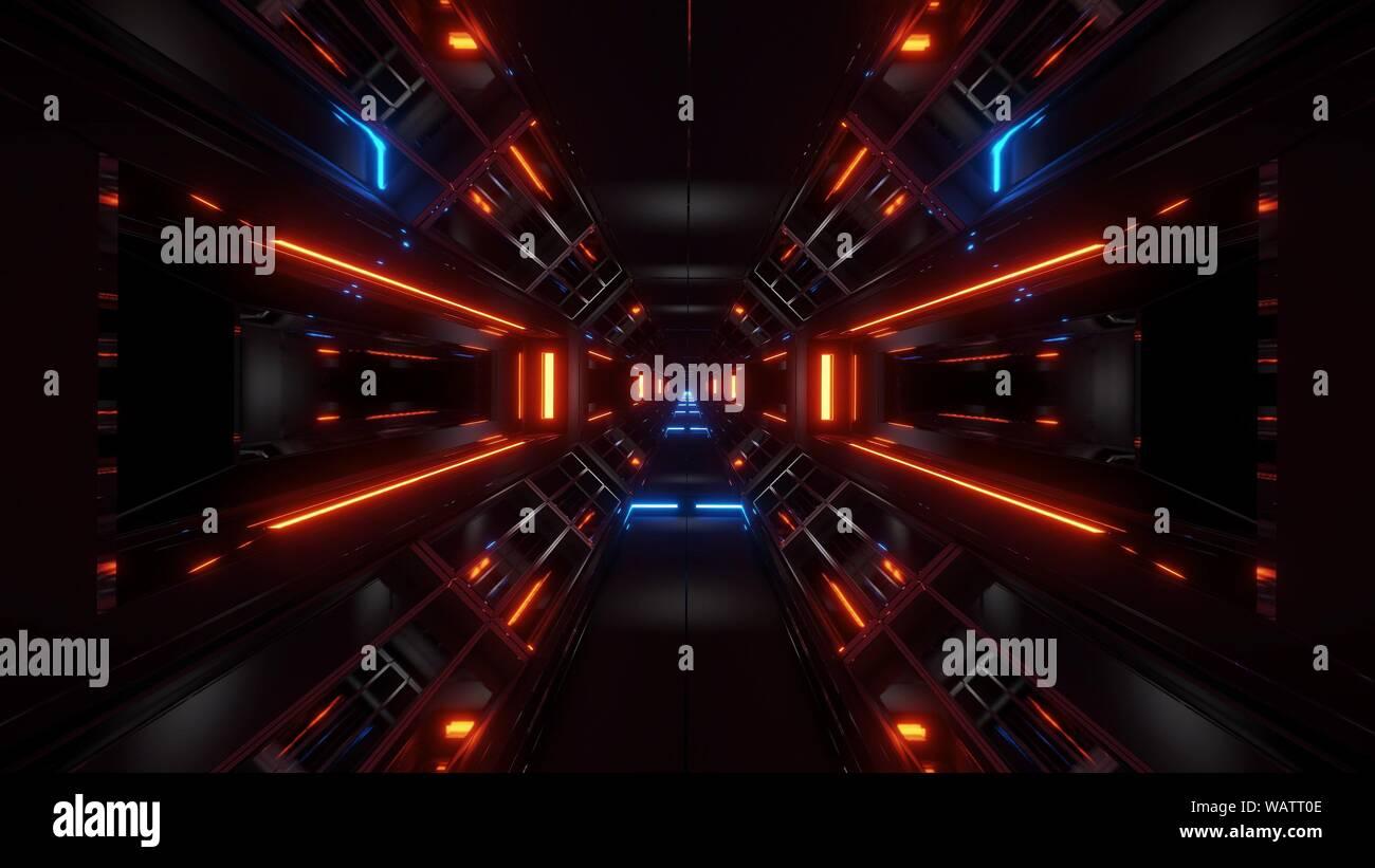 dark space sci-fi tunnel airship corridor fly through vj