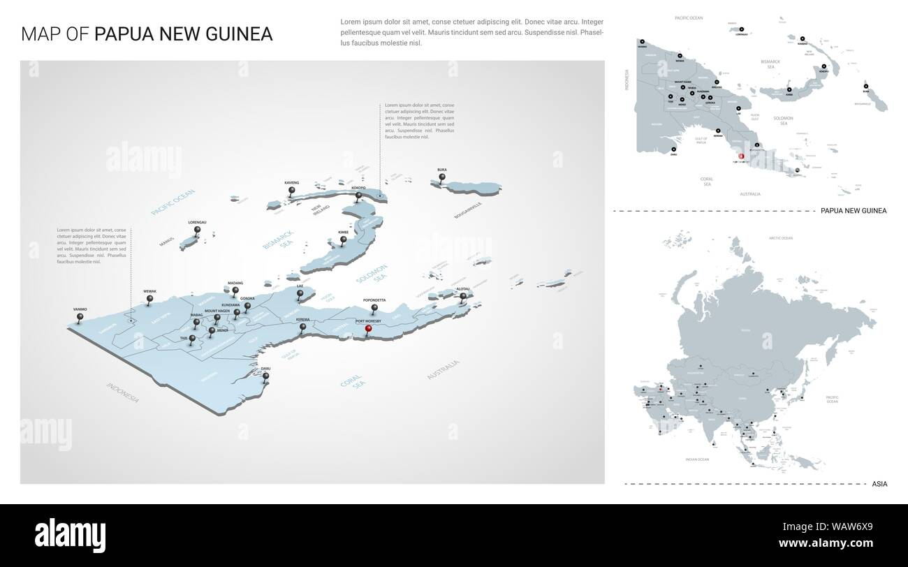 Vector set of Papua New Guinea country. Isometric 3d map ...