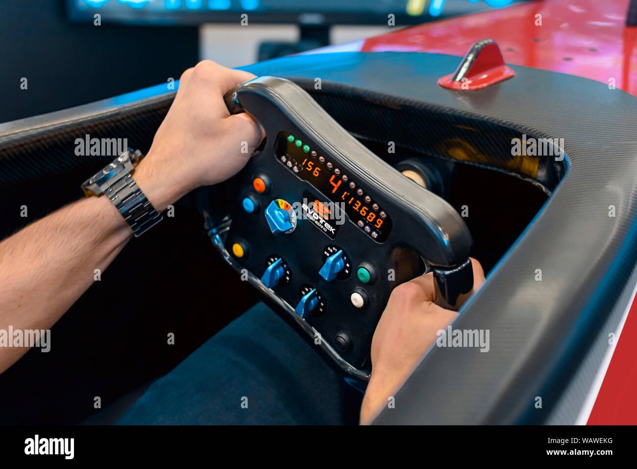Racing Race Car Simulator Stock Photos & Racing Race Car
