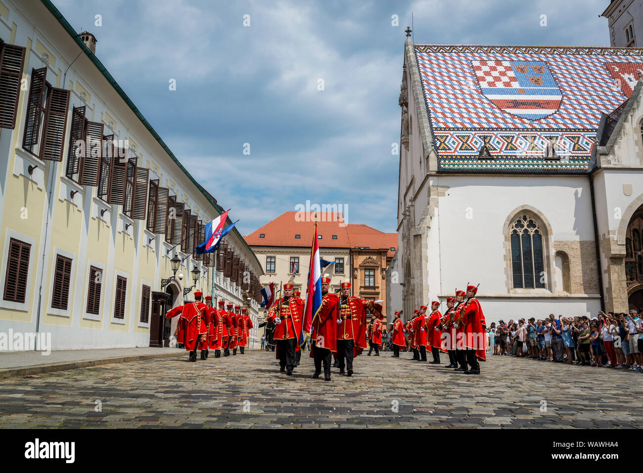 The Changing of the Guard, Croatian soldiers in historical regalia in ceremonial parade at St Mark's Square, Zagreb, Croatia Stock Photo