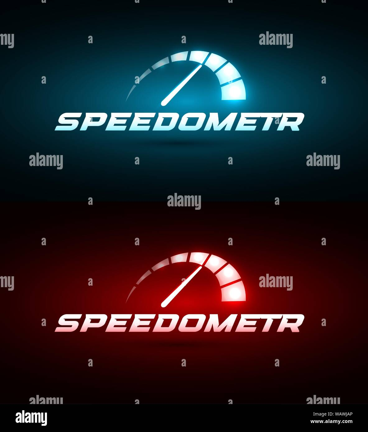 Speedometer Icon Blue And Red Glowing Speed Indicator Automotive Logo Template Modern Car Emblem Idea Auto Service Concept Design For Business Stock Vector Image Art Alamy